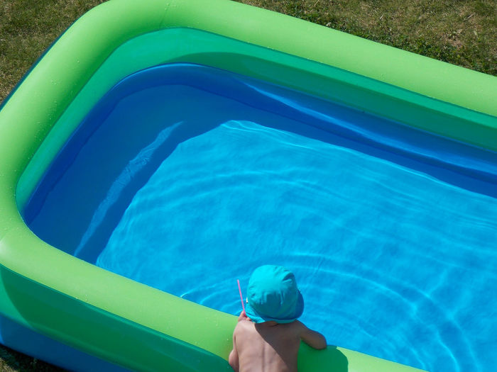 At Last Summer Baby Pool Blue Finally Summer Garden A Bird's Eye View Heat Plash Playing Pool Recreational Pursuit Refreshment Summer Summerfeeling Swash Swimming Wading Pool Water Child Fun People Together Home Is Where The Art Is Colour Of Life Color Pallete Summer Exploratorium