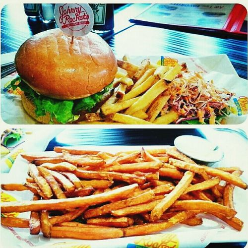 Delicious beef burger cooked to perfection and sweet potato fries fried to perfection Weekend Lunch Fastfood Burgers Fries