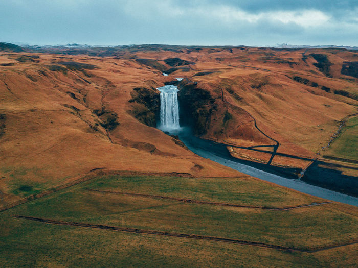 Iceland Drone  Environment Beauty In Nature Scenics - Nature Landscape Sky Tranquil Scene Tranquility Nature Non-urban Scene Day Water No People Land Cloud - Sky Outdoors Idyllic Mountain High Angle View Travel Destinations Flowing Water Flowing