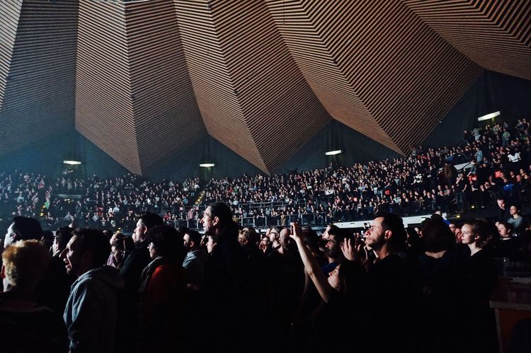 At the Massive Attack concert in Berlin. Audience Berlin Concert Concerthall EyeEm Best Shots Fan Fans Great Huge Massive Attack Music Musicians People Real People Taking Photos Technology Tempodrom Watching Learn & Shoot: After Dark Things I Like