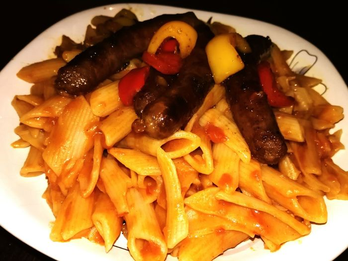 Food Food And Drink Plate Ready-to-eat Healthy Eating Close-up Freshness No People Indoors  Dried Fruit Food State Smart Phone Huaweigr5 Huawei Egyptian Pasta + Oreinral Sausage 😍