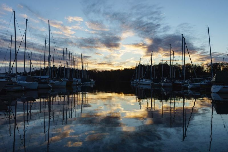 Boats in Symmetry #sea #fjord #norway #frognerkilen #Oslo Sky Water Cloud - Sky Reflection Sunset Beauty In Nature Nature Scenics - Nature Idyllic Sailboat Outdoors