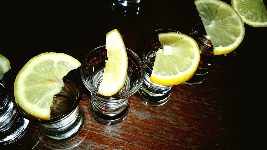 Lemon Drinking Vodka Shots Party