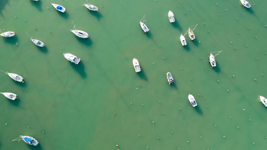 Aerial photography of boats in a marina, France Boat Boats Water Sea Atlantic Ocean Jard Sur Mer Vendée France Above High Angle View Green Color Nautical Vessel Floating No People Floating On Water Mode Of Transportation Outdoors Tranquility Aerial View Aerial Photography Seascape Sailboat Sailing Ship