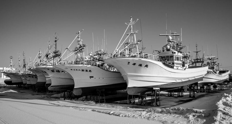 Nautical Vessel Transportation Mode Of Transportation Water Harbor Moored Sky Commercial Dock No People Nature Sea Pier Ship Day Sailboat Architecture Outdoors Snow Business Yacht Port Luxury Japan Blackandwhite