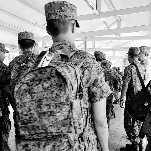 Sg_streetphotography Streetphotography NSmen Going Into Camp Army Camp Singapore Bnwsingapore Bnwphotography Bnwstreetphotography Pasir Ris Bus Interchange