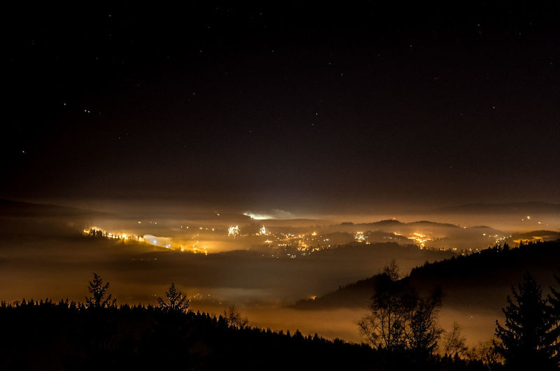 EyeEm Best Shots EyeEm Best Shots - Long Exposure Golden Lights Beauty In Nature Darkness And Light Fog Foggy Idyllic Landscape Lights In The Dark Long Exposure Mountain Mountain Range Mountains Nature Night Outdoors Scenics Silhouette Sky Tranquil Scene Tranquility Tree Valley Shades Of Winter