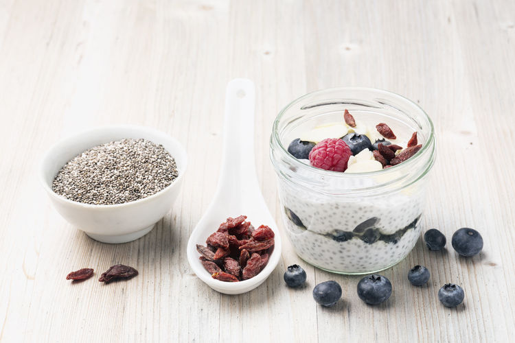 chia seed pudding with coconut milk and berries Berries Blue Berries Bowl Chia Pudding Chia Seed Pudding Chia Seeds Food Freshness Fruit Gojiberries Healthy Eating Indoors  No People Raspberries Vegan Vegetarian Food