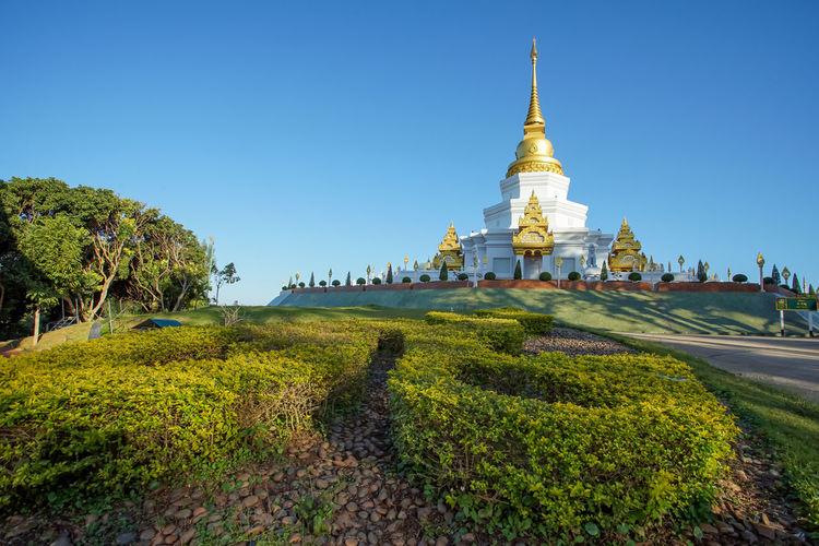 Beautiful pagoda in Wat Phra Thad Santidham temple in Chiang Rai, Thailand. Chiang Rai, Thailand Doi Mea Salong Famous Pagoda Stupa Wat Phra Thad Santidham Famous Place Temple Travel Destinations