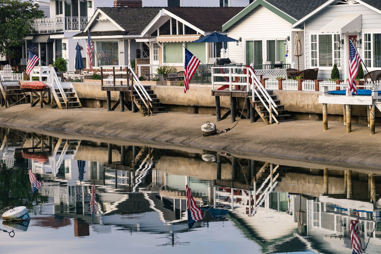 Beach Cottages Architecture Balboa Island Beach Cottage Day House Reflection Reflections Reflections In The Water Water