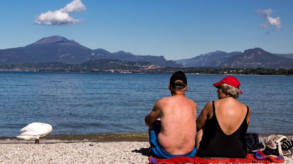 EyeEm Selects Two People Rear View Adults Only Lake Adult Water Outdoors Vacations People Day Landscape Women Nature Italia Gardasee SIGMA18_300mm Peschiera Del Garda Gardasee,Italien Beach Life Beach Time Beach Holiday Beachphotography Sony A6000