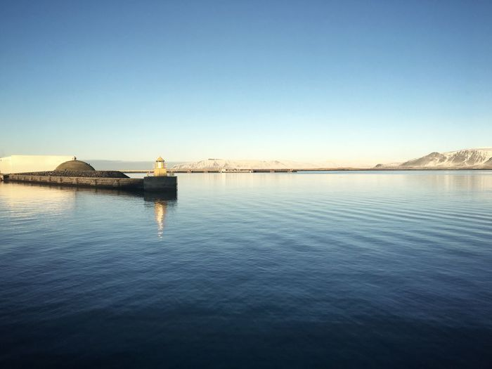 Reykjavik Bay Sea Landscape Blue Water Harbor North Capital Cities  Iceland Beautiful Tranquil Scene Atmosphere Nature Winter Warm Sunlight Midday Sunlight Light Day No People Travel Outdoors