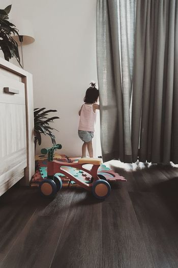 Full Length Curtain Sitting Domestic Life Childhood Home Interior Casual Clothing Toy Floor Lamp Stuffed Toy Toy Block Preschool Striped A New Beginning Capture Tomorrow My Best Photo