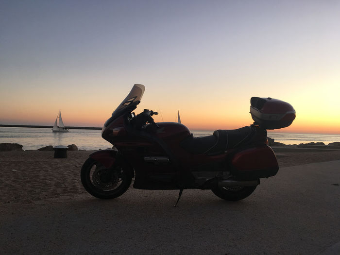 Honda Beach Beauty In Nature Bertontheroad Clear Sky Day Horizon Over Water Motorcycle Motovloggers Nature No People Outdoors Pan European St1100 Sand Sea Sky Sunset Transportation Water