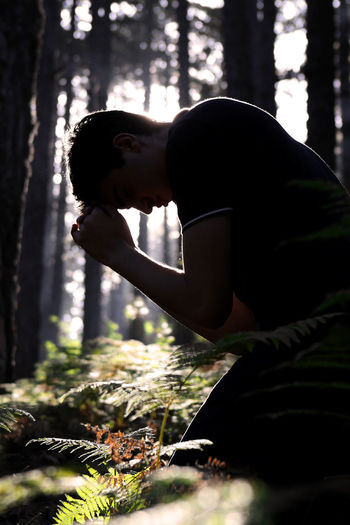 Silhouette of Man Praying in the Forst Man Male Guy Teenager Christian Christianity Prayer Meditate Religion Faith Born-again Spirituality Worship Praise Alone God Solitude Trees