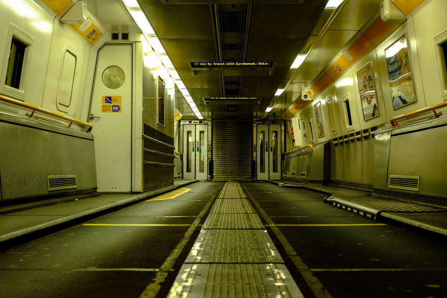 Eurotunnel Illuminated Public Transportation Rail Transportation Train Train - Vehicle Transportation Tunnel