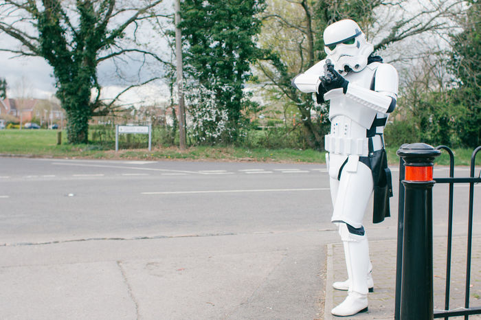 Comic Dark Side Day Dress Up Gun Helmet One Person Outdoors People Road Shoot Space Space Suit Star Wars Stormtrooper The Force