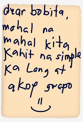 a sweet message from my bobito nabaliw lang sa malamig na weather caused by maring the conjurain :)