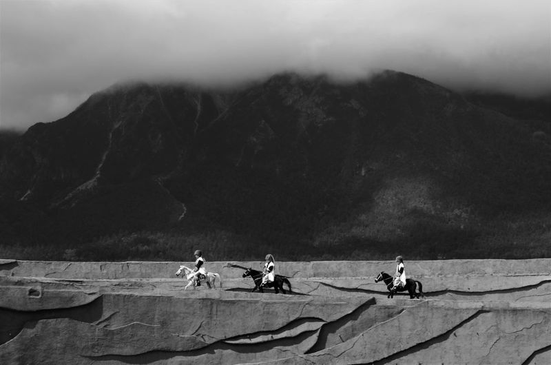 The 3 horsemen B&w Photography Black And White China Chinese Minority Cloud - Sky Horseriding Horses Impression Show Lined Up Outdoors Performers Traditional Clothing Traditional Costume Travel Zhang Yimou