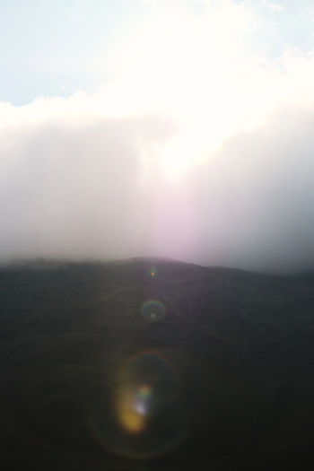 Scenic view of landscape against sky during foggy weather