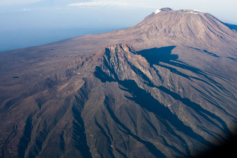 Aerial view of snowcapped mountain. mt. kilimanjaro.