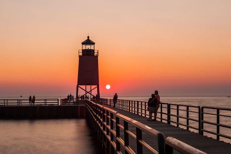 Light Lighthouse Michigan Winter Sunset Sunset_collection Sun Sunset Silhouettes
