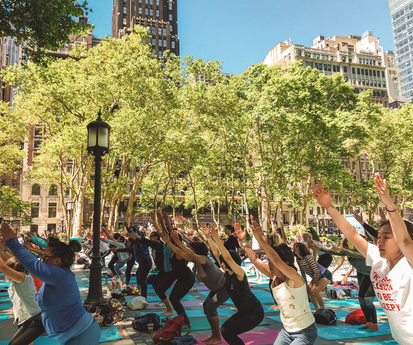 Yoga Group Of People Built Structure Real People Crowd Architecture Building Exterior Large Group Of People Tree Men Nature Day Lifestyles Plant Sky City Women Leisure Activity Arms Raised Outdoors Human Arm New York City Outdoor Yoga Yoga In The Park