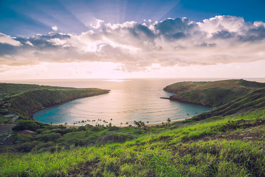 Agriculture Awe Beach Beauty In Nature Cloud - Sky Day Grass Horizon Over Water Landscape Nature No People Outdoors Rural Scene Scenics Sea Sky Tourism Travel Travel Destinations Vacations