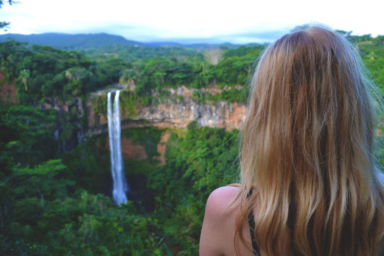 Africa Beauty In Nature Blonde Cliff Focus On Foreground Headshot Holiday Landscape Long Hair Mauritius Outdoors Scenics Summer Tranquil Scene Tranquility Tropical Vacations Waterfall Woman Let Your Hair Down The Great Outdoors With Adobe The Great Outdoors - 2016 EyeEm Awards