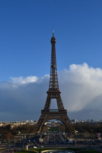Paris Architecture Built Structure Tower Sky Travel Destinations Tourism Travel City History Tall - High The Past Metal Nature Cloud - Sky Building Exterior Day Incidental People Monument Outdoors Spire  Iron Eiffel Tower France Europe Vertical