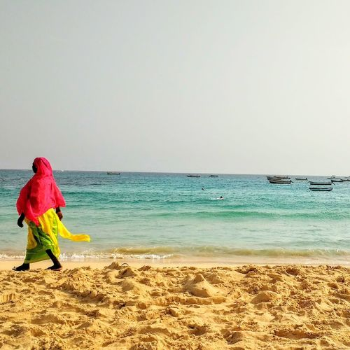 Cabo Verde Beach Sea Water Sand People One Person One Woman Only Adult Horizon Over Water Full Length Outdoors Nature Day Beauty In Nature Sky Adults Only African Beauty Africanwoman Detailphotography Walking Colors and patterns Colors African Travel Photography Travel Destinations