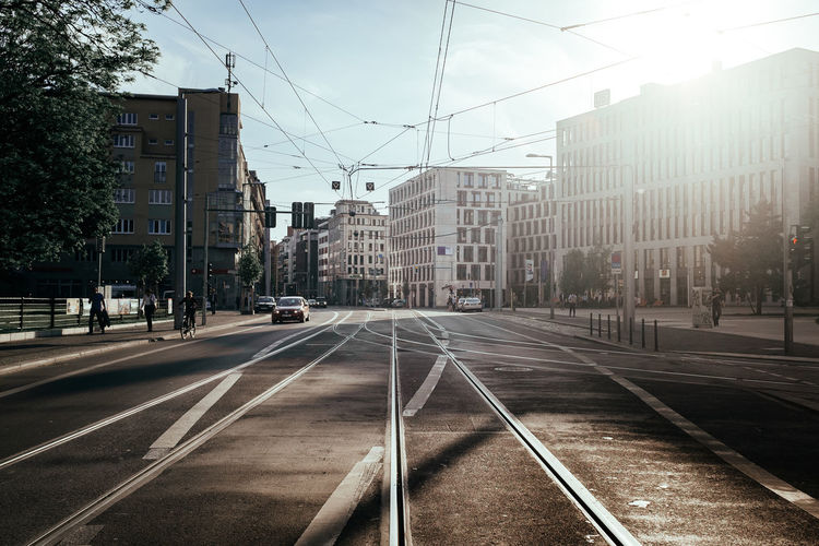 Sunny afternoon Architecture Berlin Photography Berliner Ansichten Building Exterior Built Structure Cable City City Life Day No People Outdoors Public Public Transportation Railroad Track Road Sky Street The Street Photographer - 2017 EyeEm Awards Tram Transportation Tree Urban Urban Geometry Urban Lifestyle Urbanphotography Discover Berlin