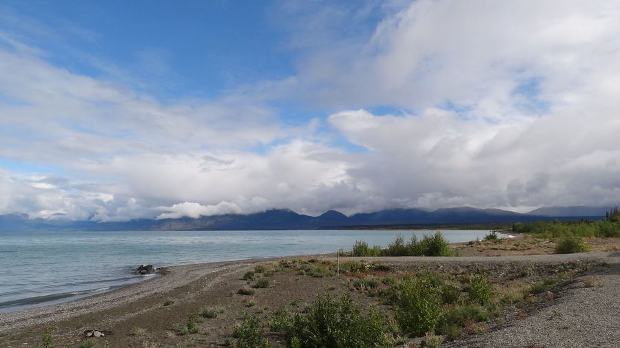 Beach Beauty In Nature Canada Cloud - Sky Day Horizon Over Water Kluane Lake Kluane National Park & Reserve Mountain Nature No People Outdoors Sand Scenics Sky Tranquil Scene Tranquility Water Yukon