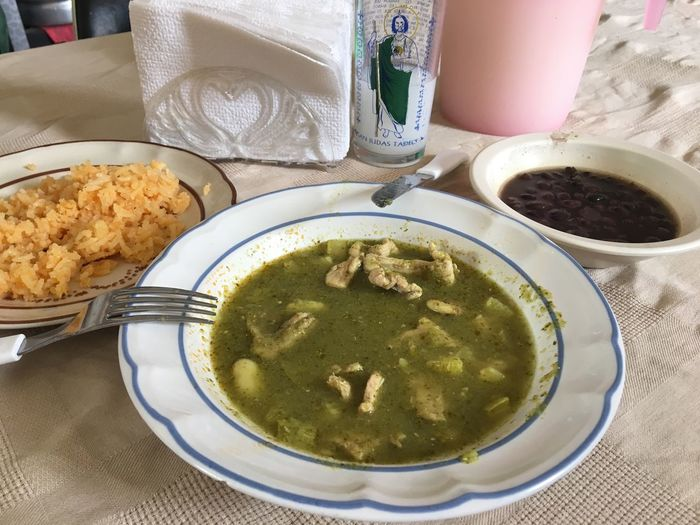 Food And Drink Mexican Food Comida Corrida Salsa Verde Green Sauce Green Tomate Sauce Table Fonda  Food Bowl Plate High Angle View Indoors  No People Healthy Eating Freshness Ready-to-eat Close-up Day