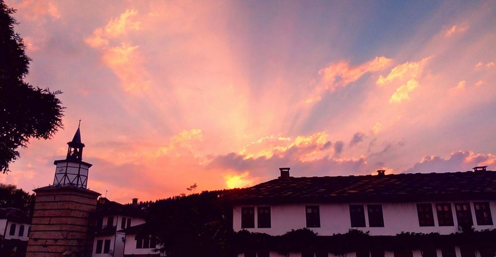Taking Photos My Town Sky Sunset Pink Skies Tryavna Clock Tower Old Town Photography Hello World Beutiful Sky  Sky View