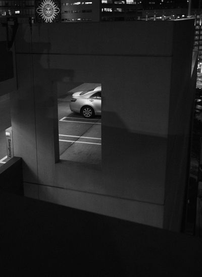 High angle view of car at night
