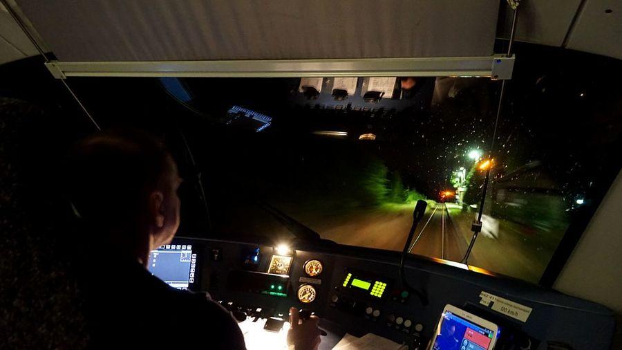 Night Train Train Station Train Tracks Control Panel Technology Occupation Performance Music Cockpit Arts Culture And Entertainment Dashboard Windscreen Windshield Vehicle Interior Capture Tomorrow