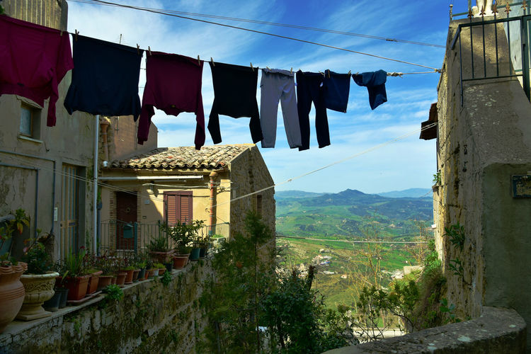 Architecture Authentic Moments Clothesline Day Drying Hanging House Italy Laundry Life Mountain Mountain Village Mountains Nature No People Outdoors Reality Remote Sky Tourism Travel Destinations