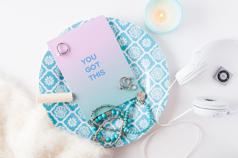 Candle Desktop Feminine  Headphones Close-up Copy Space Desk Top Directly Above Group Of Objects High Angle View Indoors  Jewelry No People Still Life Studio Shot Styled Stock Styled Stock Photography Styled Stock Photos
