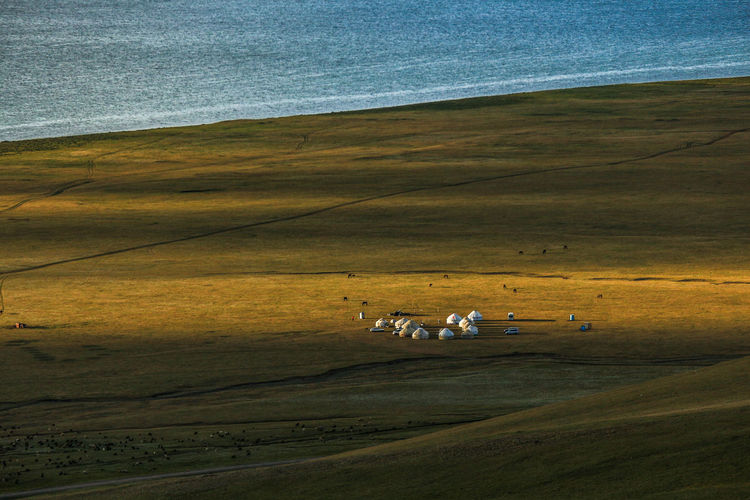 Yurt Camp Kyrgyzstan Landscape_Collection Sunlight Travel Travel Photography Beauty In Nature Lake Land Landscape Landscape_photography Nature Scenics - Nature Space Sunlight And Shadow Travel Destinations Yurt Yurt Camp Camp
