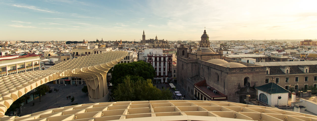 Skyline of Sevilla from Metropol Parasol Architecture Metropol Parasol Sevilla Architecture Building Exterior Built Structure City Cityscape Cloud - Sky Day Dome High Angle View No People Outdoors Place Of Worship Sky Travel Destinations Tree Urban Infill Your Ticket To Europe