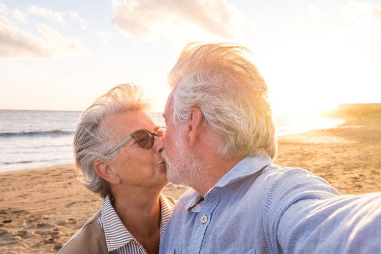 Portrait of couple on beach