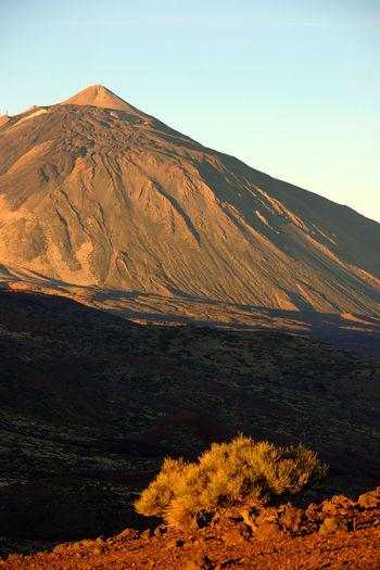 Rocky Mountain At El Teide National Park Against Clear Sky