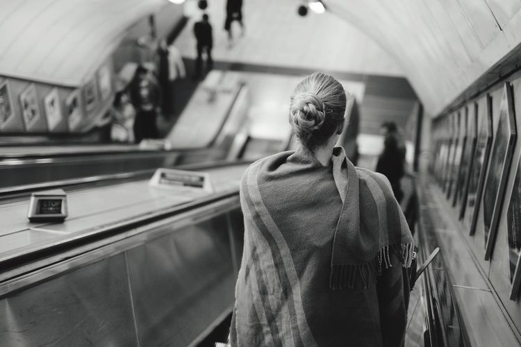 Wrapping up for a night's journey home 🌝 Evening Blackandwhite Light And Shadow Subway Underground London People Photography People Street Photography Streetphoto_bw Composition EyeEm Best Shots Open Edit