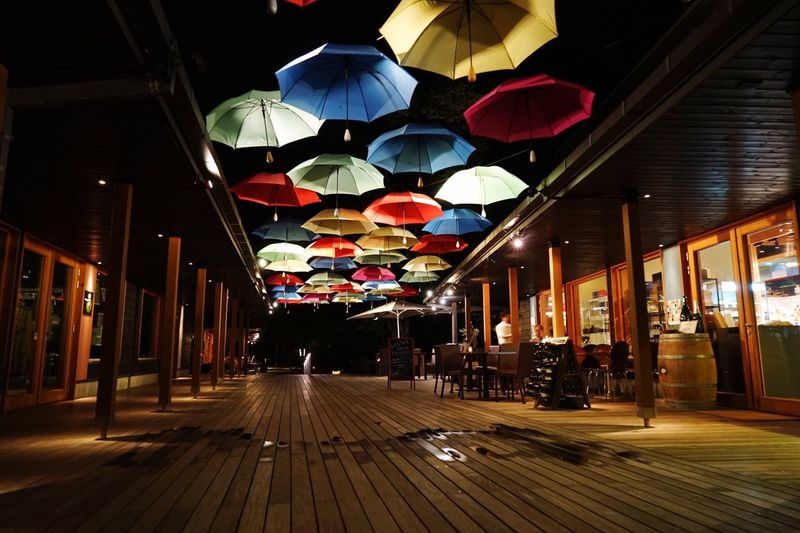 Umbrellas on ceiling of restaurant