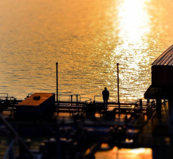 Night Sunset Sea Nautical Vessel Silhouette Sun Water Sky Nature Outdoors Real People One Person Architecture Day