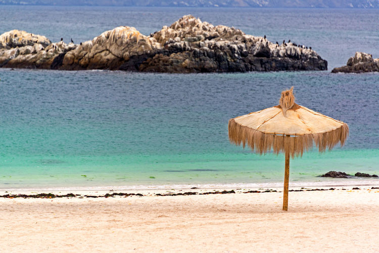 Thatched roof parasol at beach