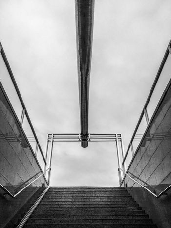 Staircase Steps And Staircases Steps Railing Built Structure Architecture Low Angle View Stairs Hand Rail Connection No People Day The Way Forward Sky Stairway Outdoors