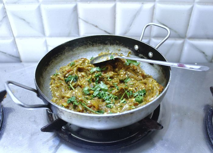 Baingan bharta - mashed eggplant in south asian