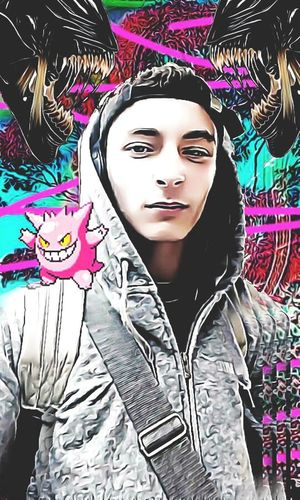 Young Adult Adult One Person Portrait Pokemon♥♥♥♥ Pokémon Gengar Ghost Alien Flower Vaporwave Edited MyEdit Multi Colored I Take Requests Add Me Edit Videogame  People One Man Only